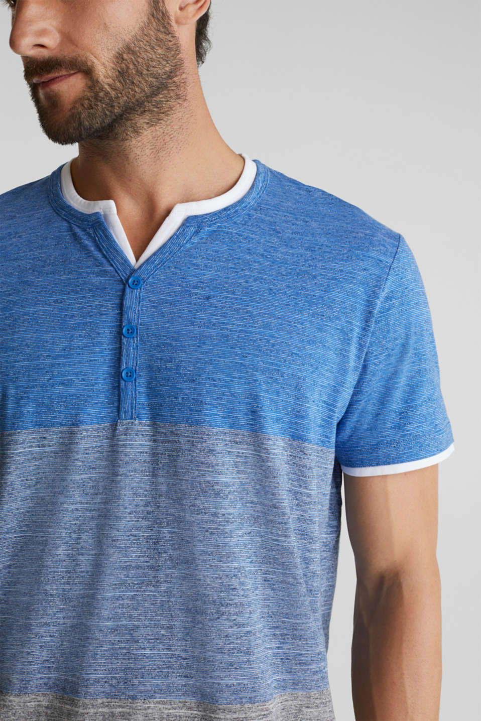 Henley top in jersey with layered details, BLUE 5, detail image number 1