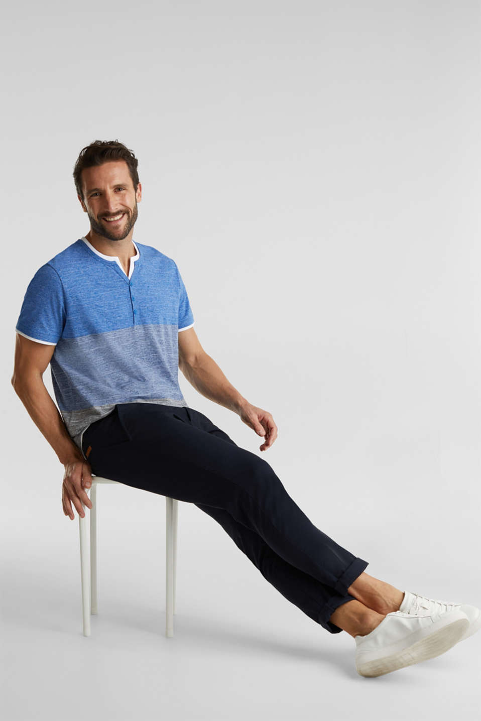 Henley top in jersey with layered details, BLUE 5, detail image number 5