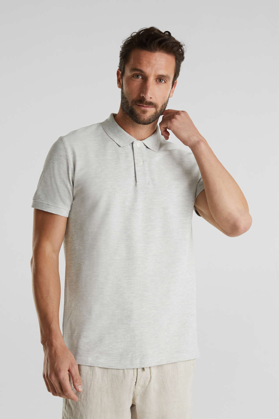 Esprit - Piqué polo shirt with organic cotton