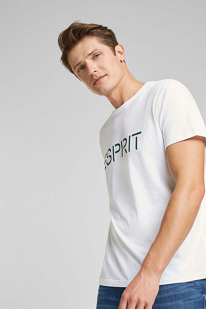 Jersey T-shirt van biologisch katoen met logo, WHITE, detail image number 0