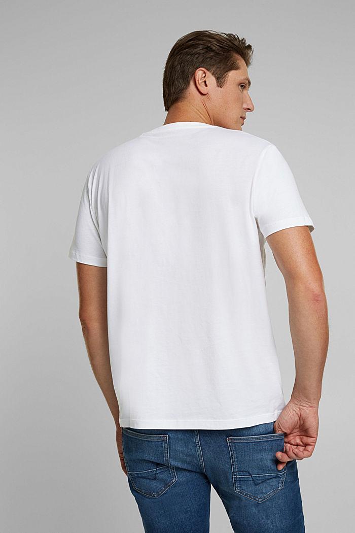 Jersey T-shirt van biologisch katoen met logo, WHITE, detail image number 3