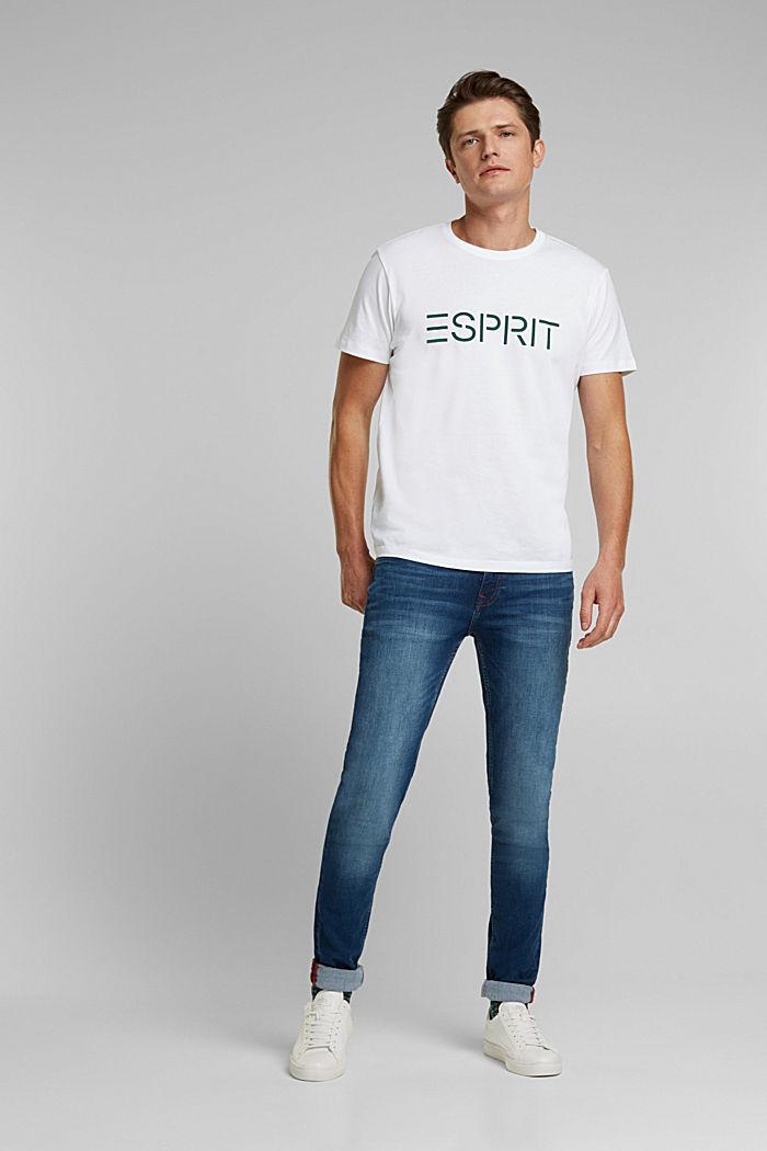 Jersey T-shirt van biologisch katoen met logo, WHITE, detail image number 2