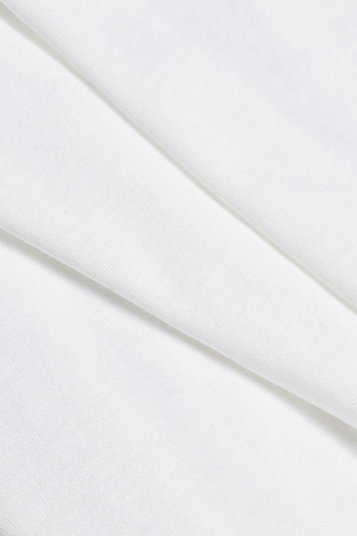 Jersey T-shirt van biologisch katoen met logo, WHITE, detail image number 4