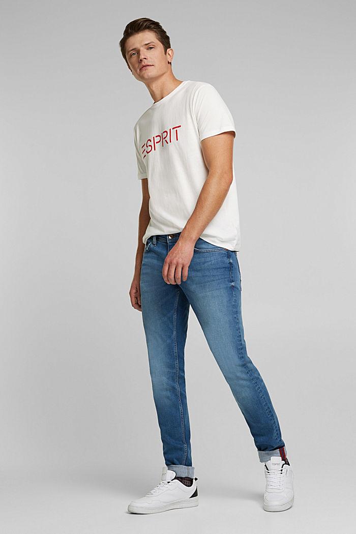Jersey T-shirt van biologisch katoen met logo, OFF WHITE, detail image number 2