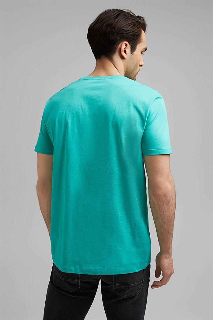 Jersey-T-Shirt mit Logo aus Organic Cotton, AQUA GREEN, detail image number 3