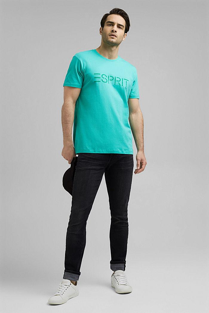 Jersey-T-Shirt mit Logo aus Organic Cotton, AQUA GREEN, detail image number 2
