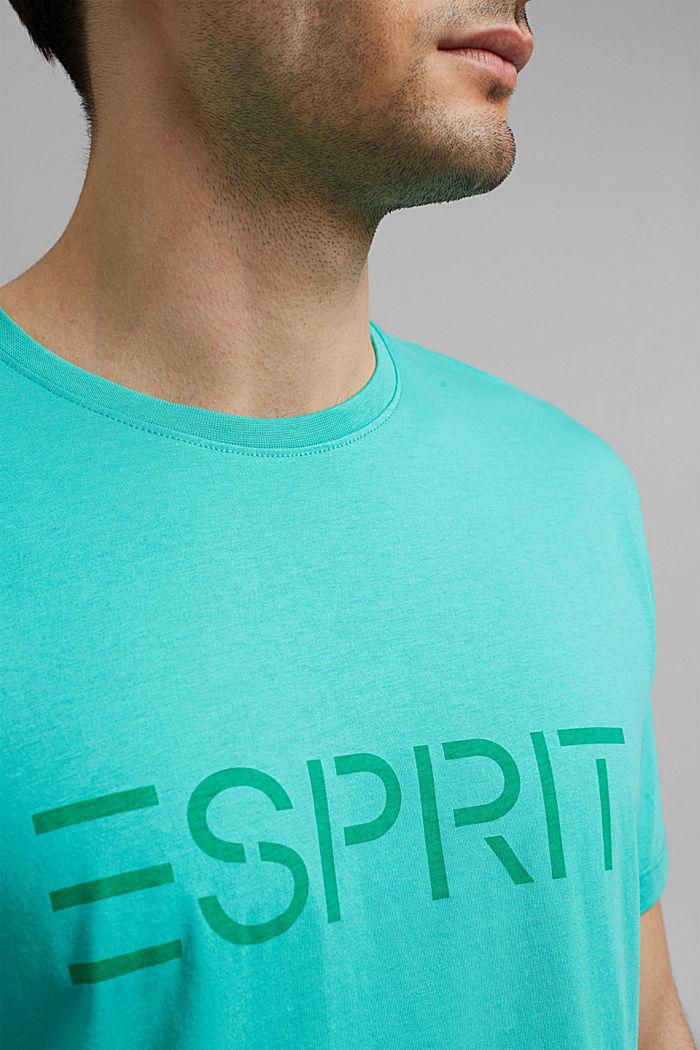 Jersey-T-Shirt mit Logo aus Organic Cotton, AQUA GREEN, detail image number 1