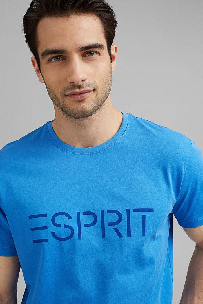 Jersey-T-Shirt mit Logo aus Organic Cotton, BLUE, detail image number 5