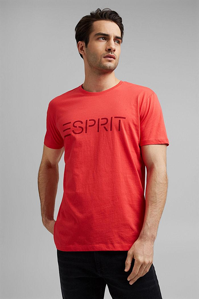 Jersey T-shirt van biologisch katoen met logo, CORAL RED, detail image number 0