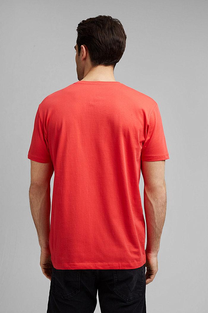 Jersey T-shirt van biologisch katoen met logo, CORAL RED, detail image number 3