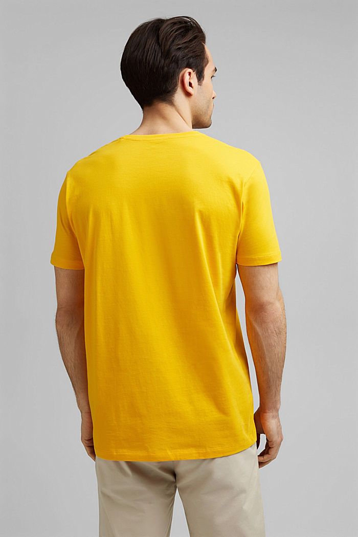 Jersey T-shirt with a logo, made of organic cotton, SUNFLOWER YELLOW, detail image number 3