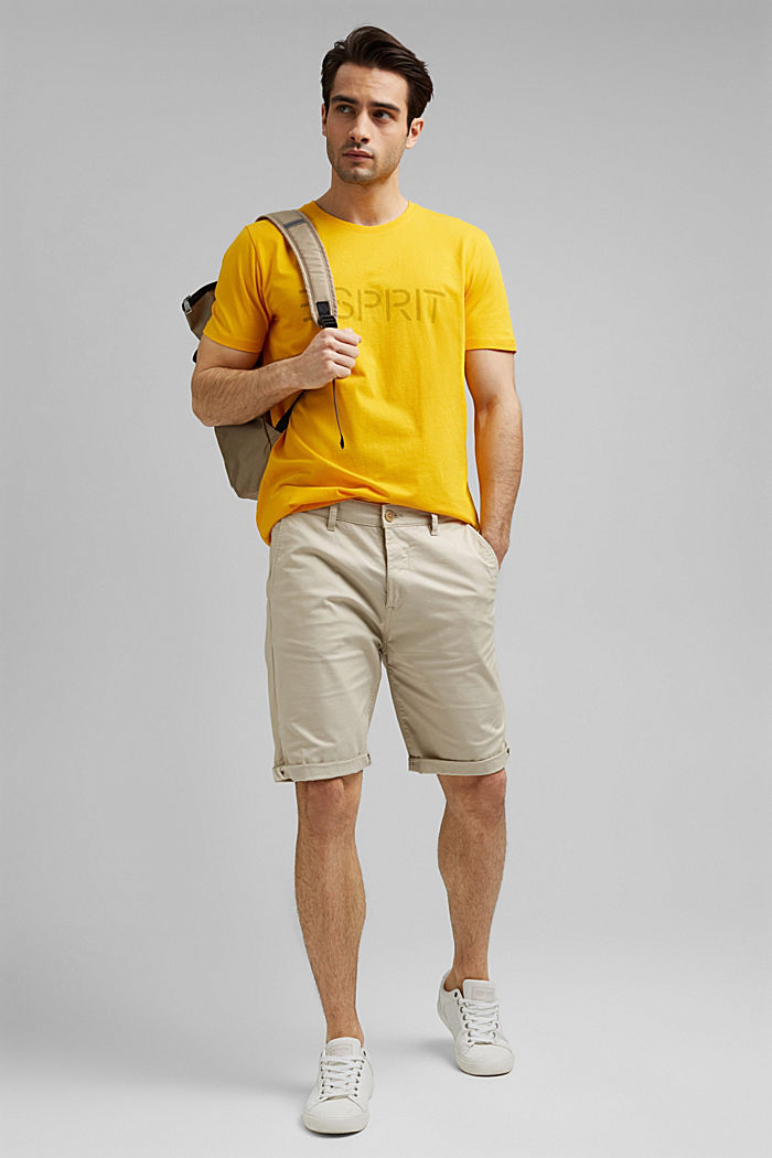 Jersey T-shirt with a logo, made of organic cotton, SUNFLOWER YELLOW, detail image number 2