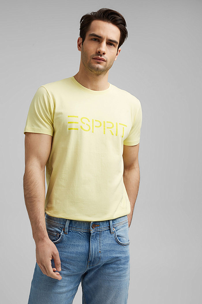 Jersey-T-Shirt mit Logo aus Organic Cotton, LIGHT YELLOW, detail image number 0