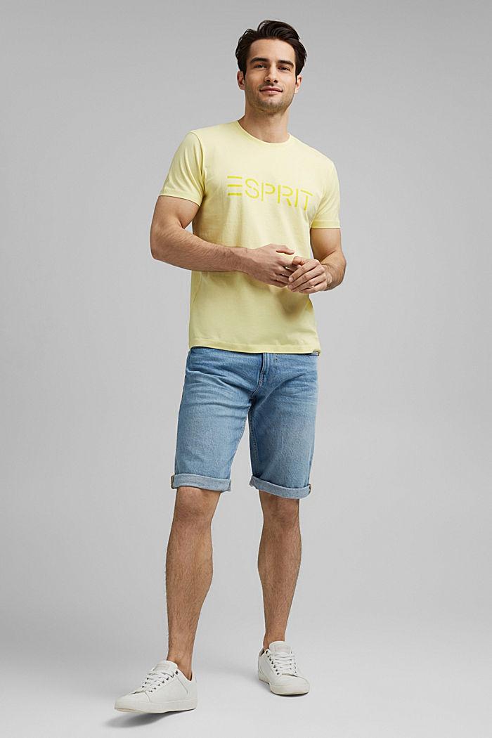 Jersey-T-Shirt mit Logo aus Organic Cotton, LIGHT YELLOW, detail image number 7