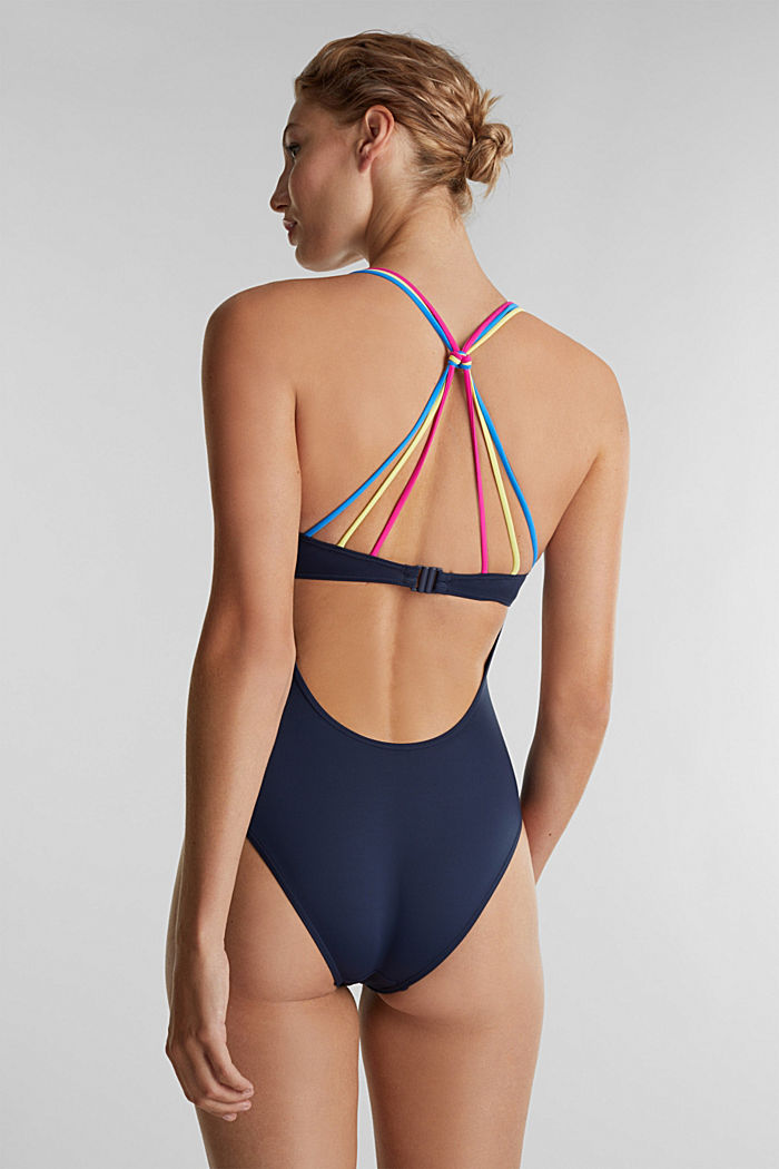 Swimsuit with multicoloured straps, NAVY, detail image number 1