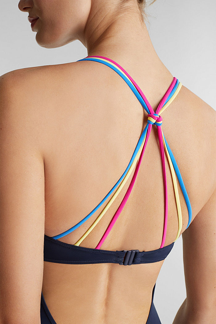 Swimsuit with multicoloured straps, NAVY, detail image number 2
