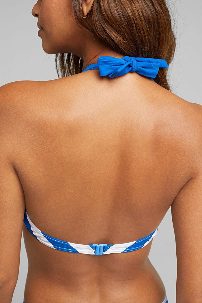 Top con tiras al cuello sin relleno y con rayas, BRIGHT BLUE, detail image number 3