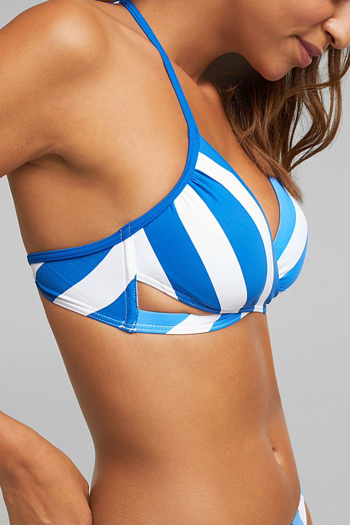 Padded crop top with stripes, BRIGHT BLUE, detail image number 2