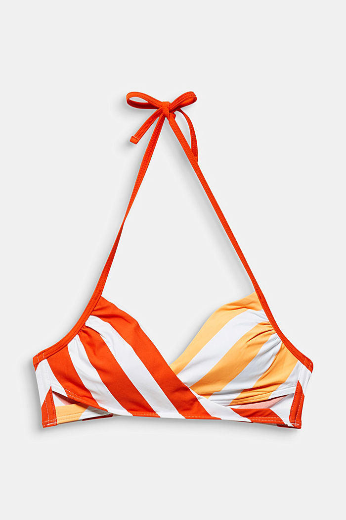 Padded crop top with stripes, CORAL ORANGE, overview