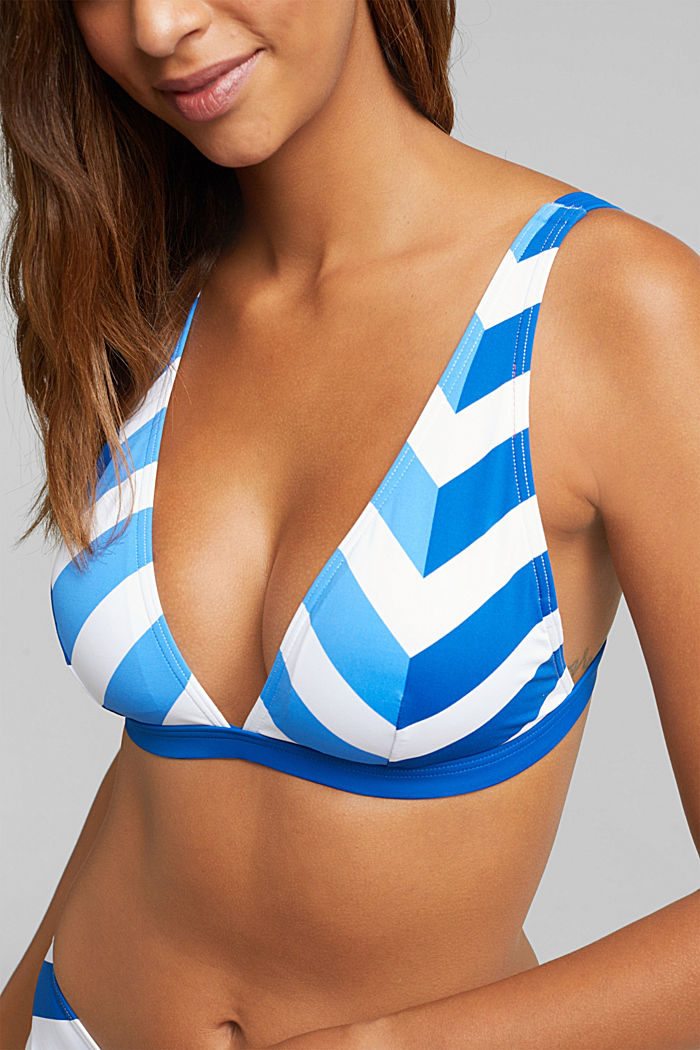 Padded top with stripes, BRIGHT BLUE, detail image number 2