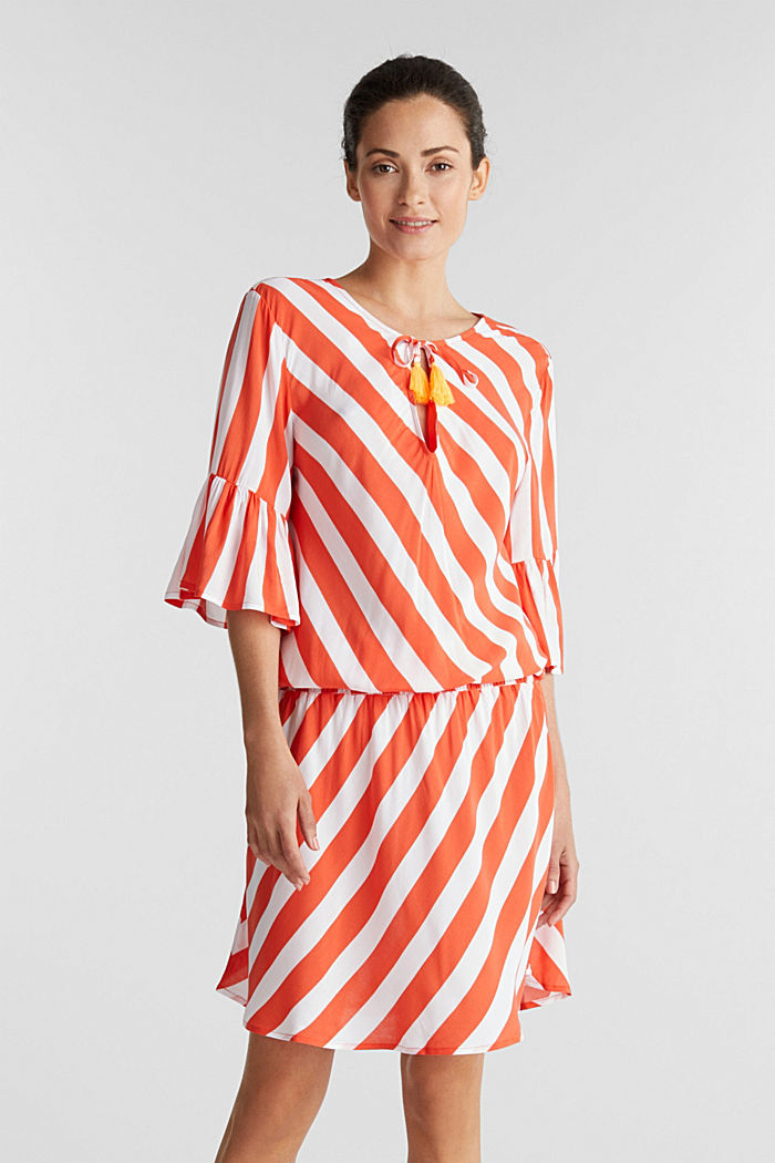 Striped print dress, CORAL ORANGE, detail image number 0
