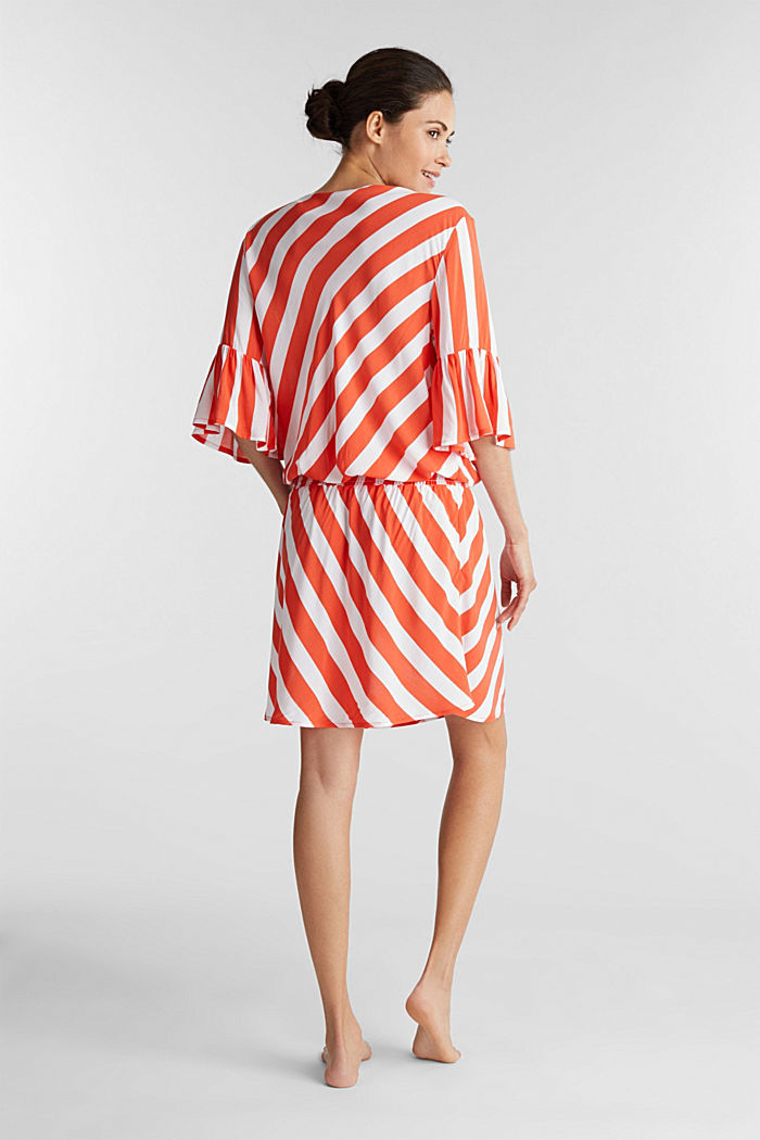 Striped print dress, CORAL ORANGE, detail image number 1