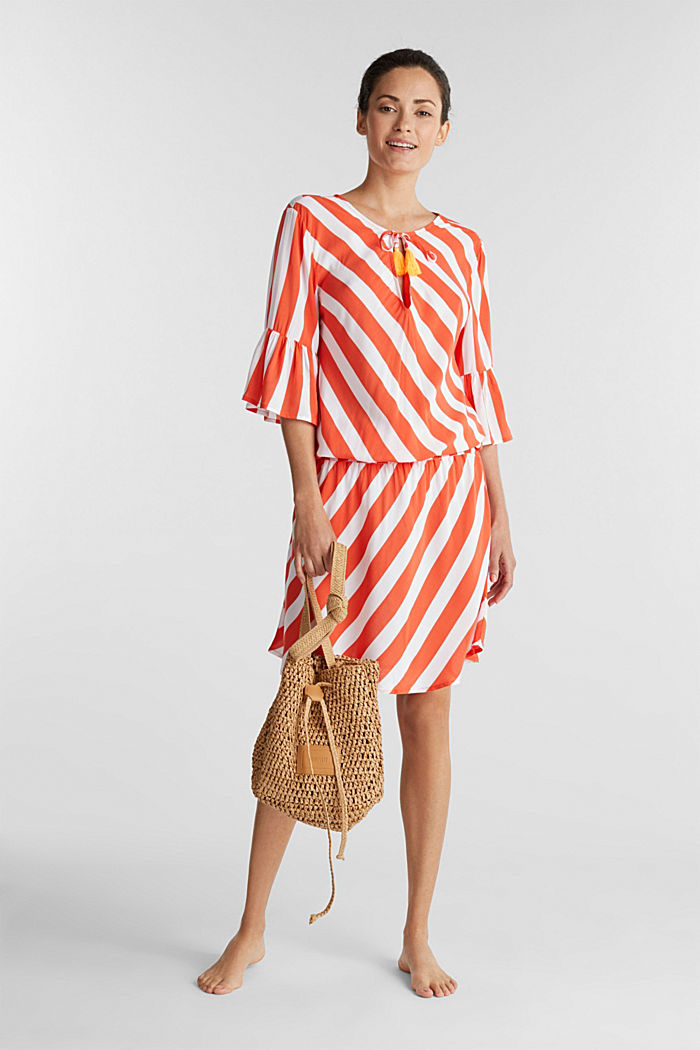 Striped print dress, CORAL ORANGE, detail image number 2