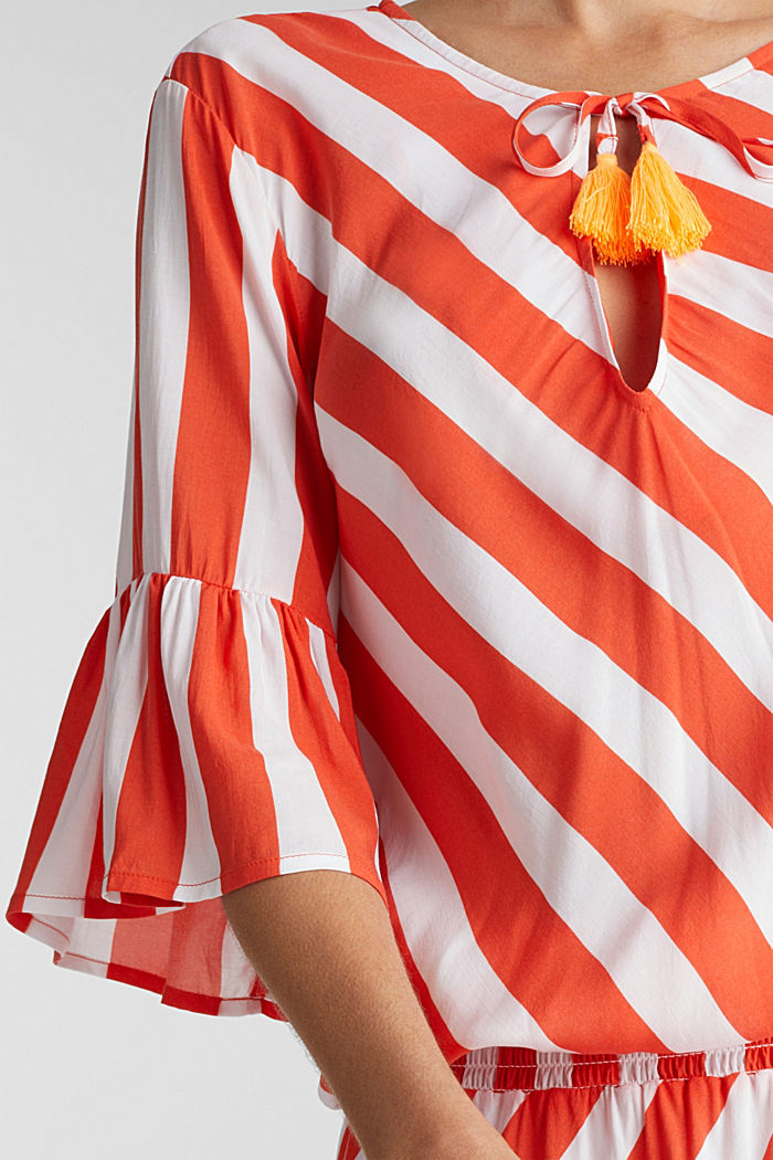 Striped print dress, CORAL ORANGE, detail image number 4