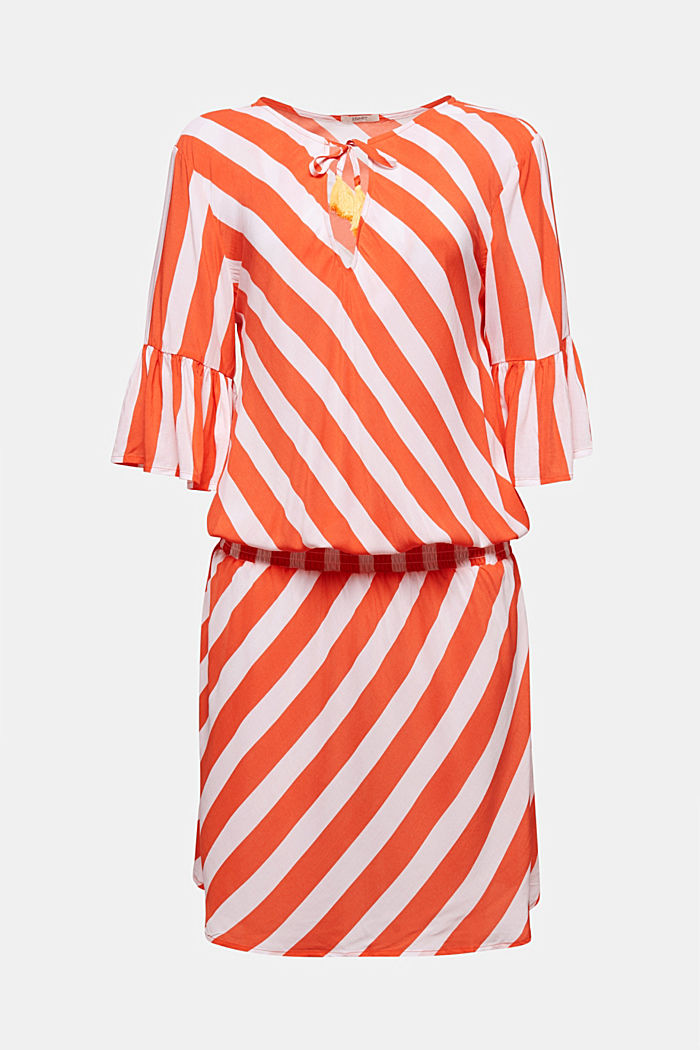 Striped print dress, CORAL ORANGE, detail image number 3