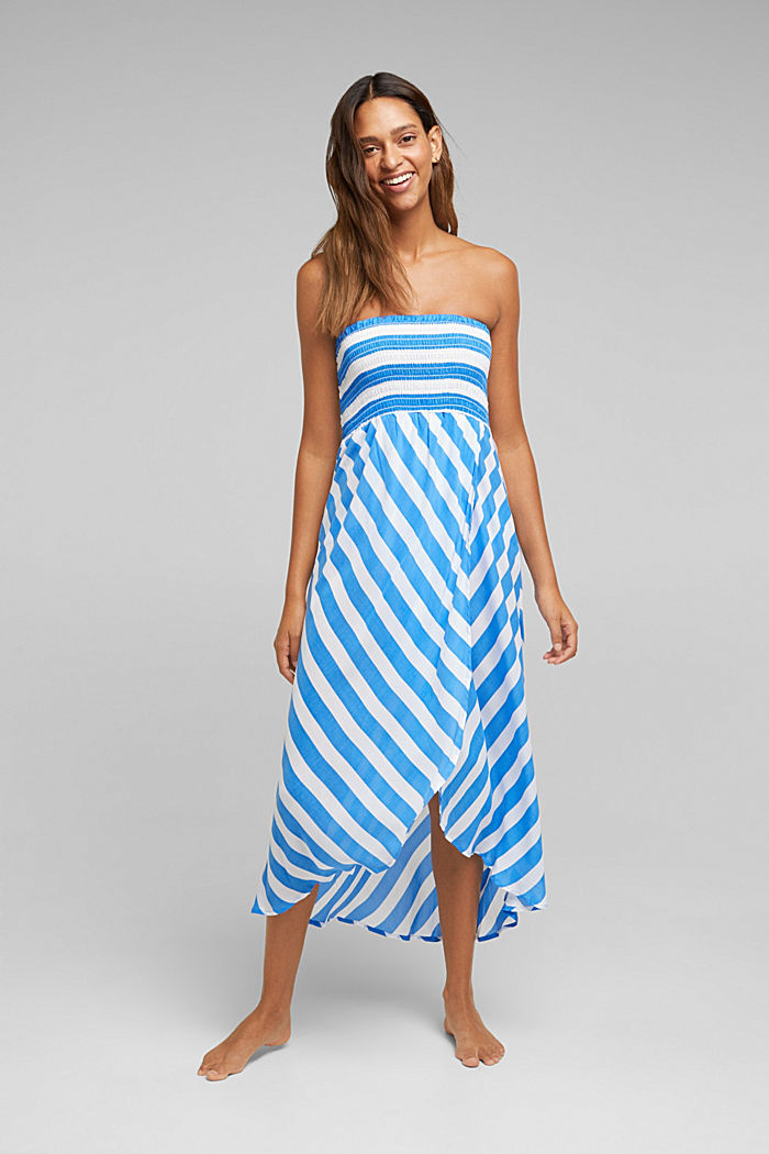 Beach dress with a smocked bustier, BRIGHT BLUE, detail image number 0