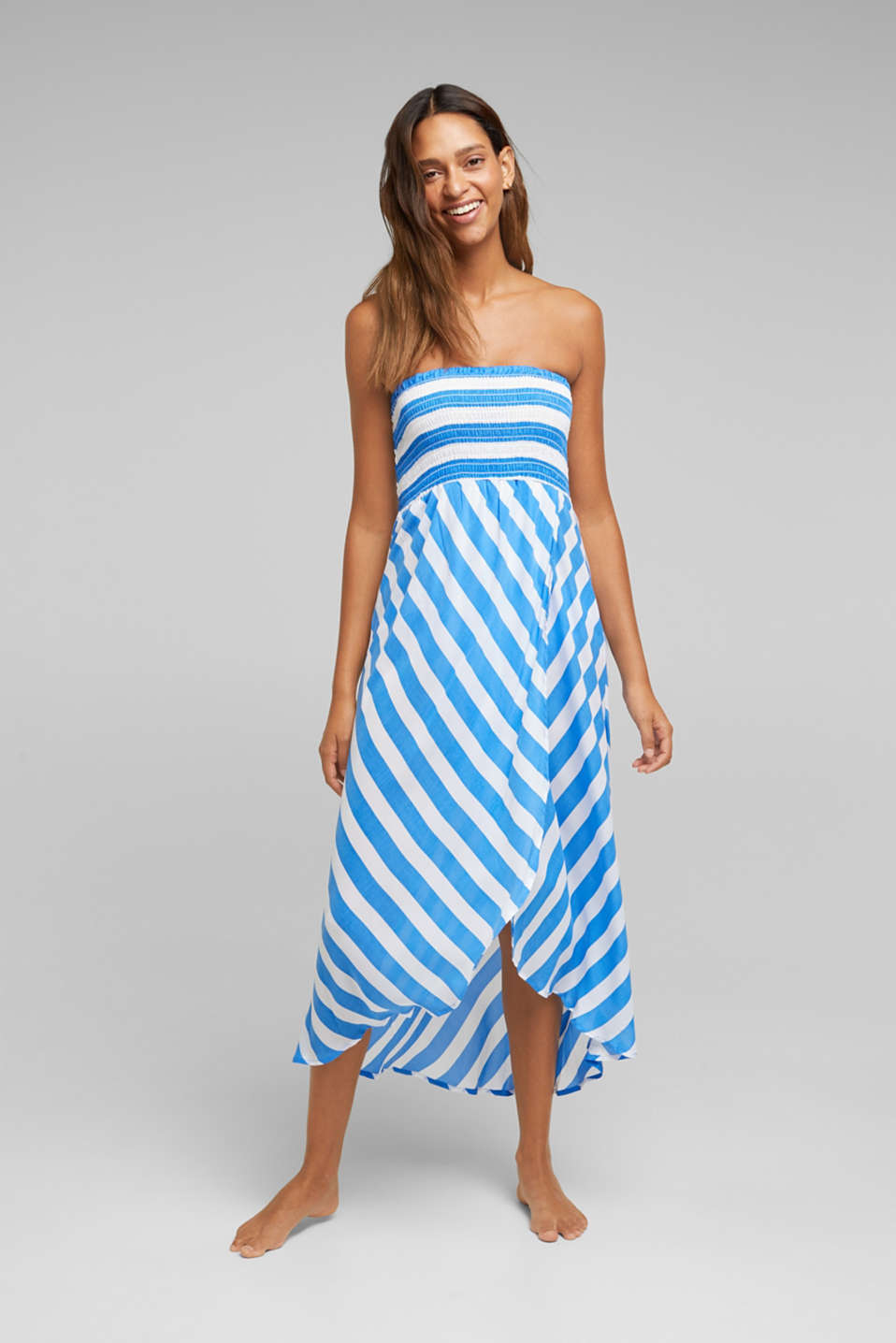 Esprit - Beach dress with a smocked bustier