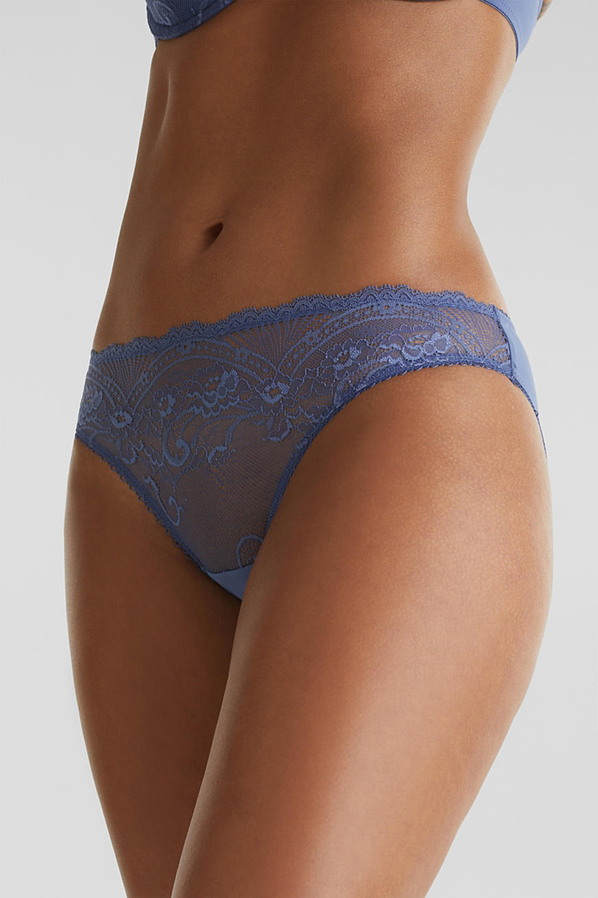 Hipster briefs with matte/shiny lace