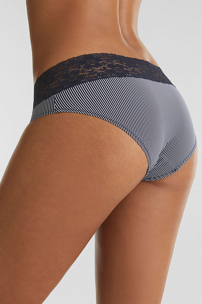Hipster shorts with stripes and lace, NAVY, detail image number 1