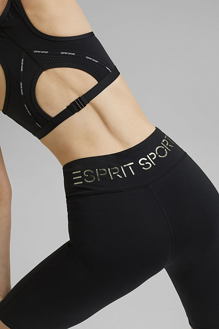 Active shorts with a logo print, organic cotton, BLACK, detail image number 4