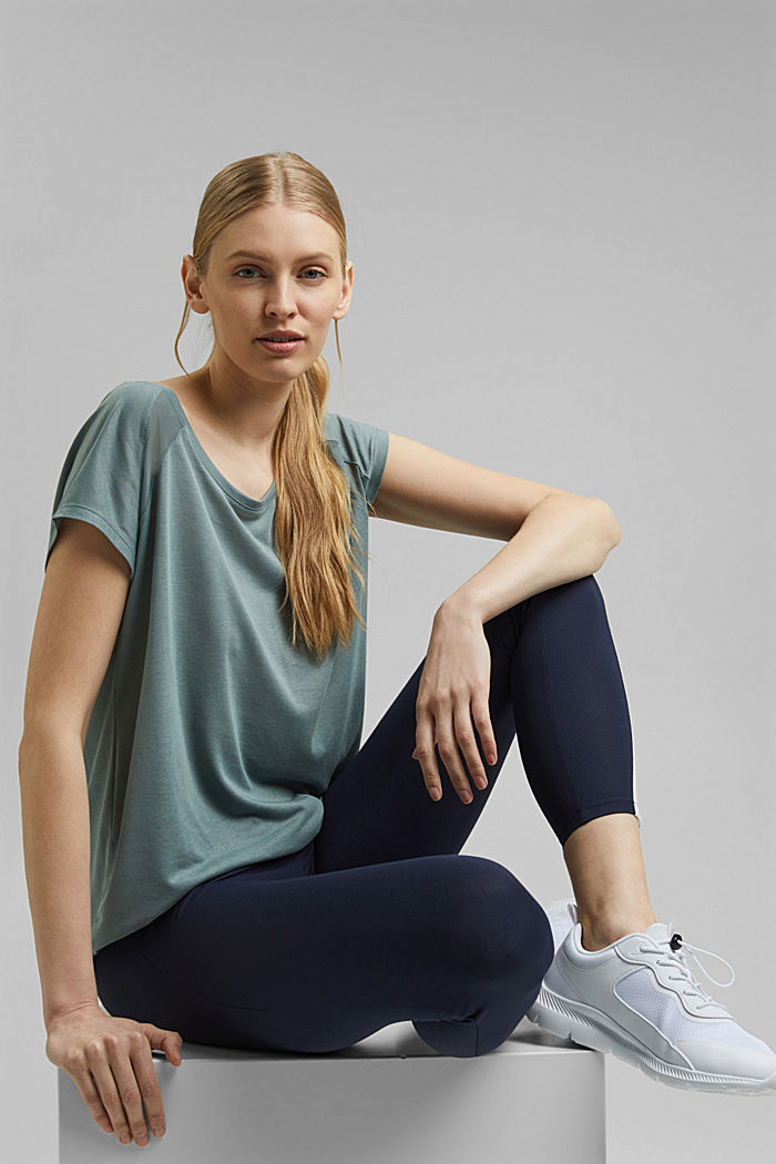 Active top with mesh inserts, DUSTY GREEN, detail image number 6
