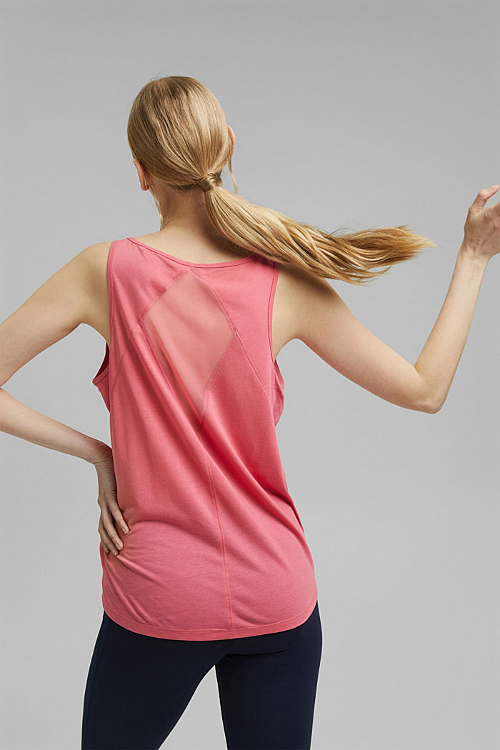 Active top with a mesh detail on the back, CORAL RED, detail image number 3