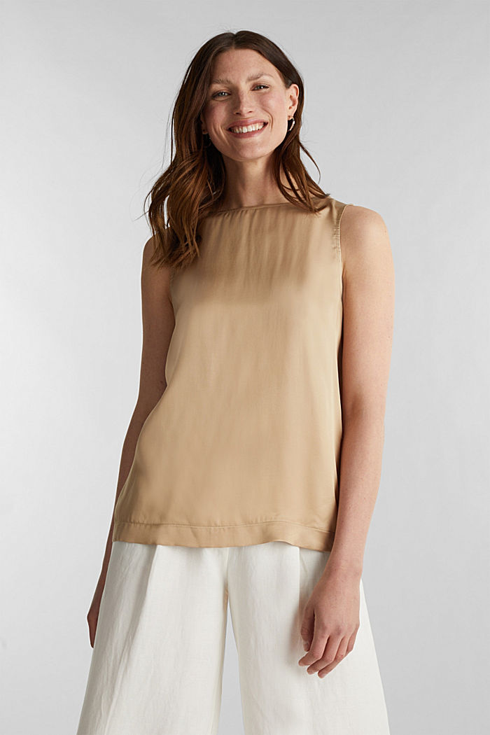 Blouse top made of satin with LENZING™ ECOVERO™, BEIGE, detail image number 0
