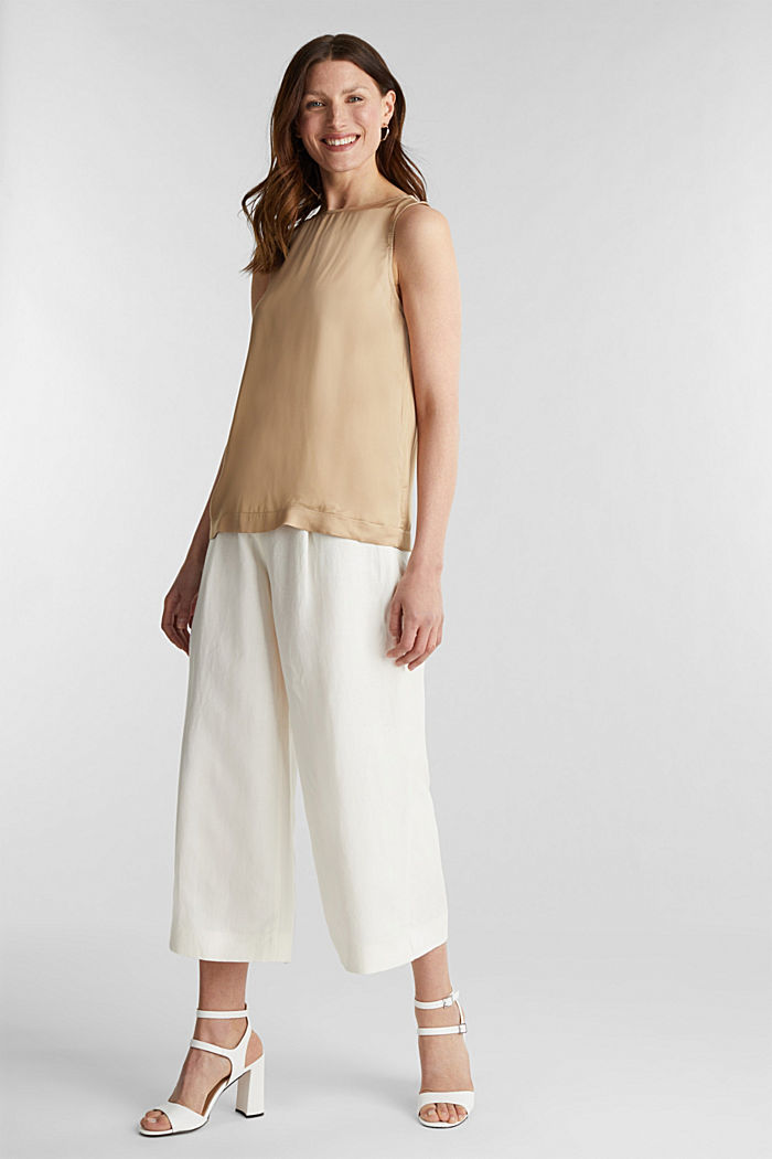 Blouse top made of satin with LENZING™ ECOVERO™, BEIGE, detail image number 5