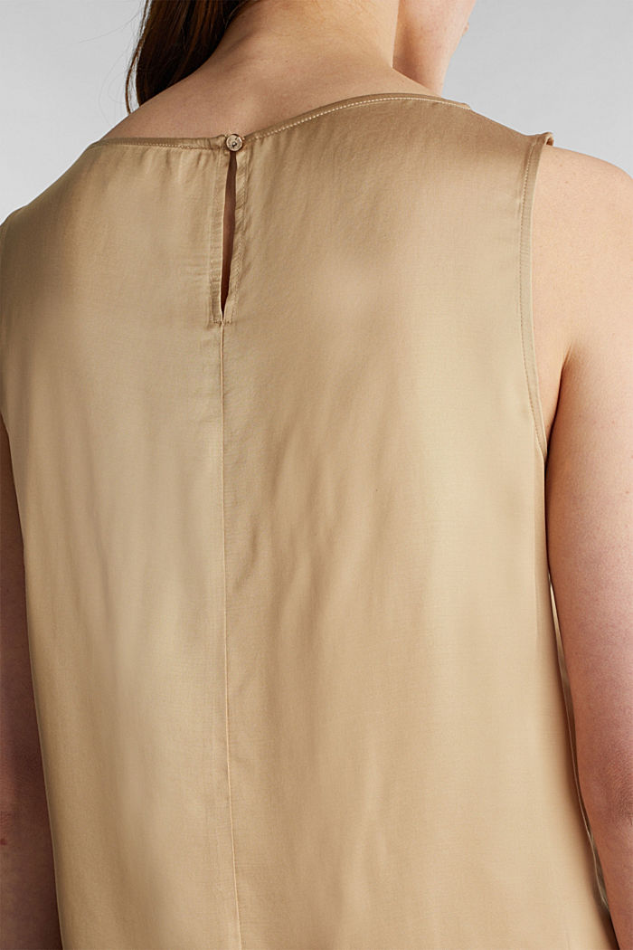 Blouse top made of satin with LENZING™ ECOVERO™, BEIGE, detail image number 2