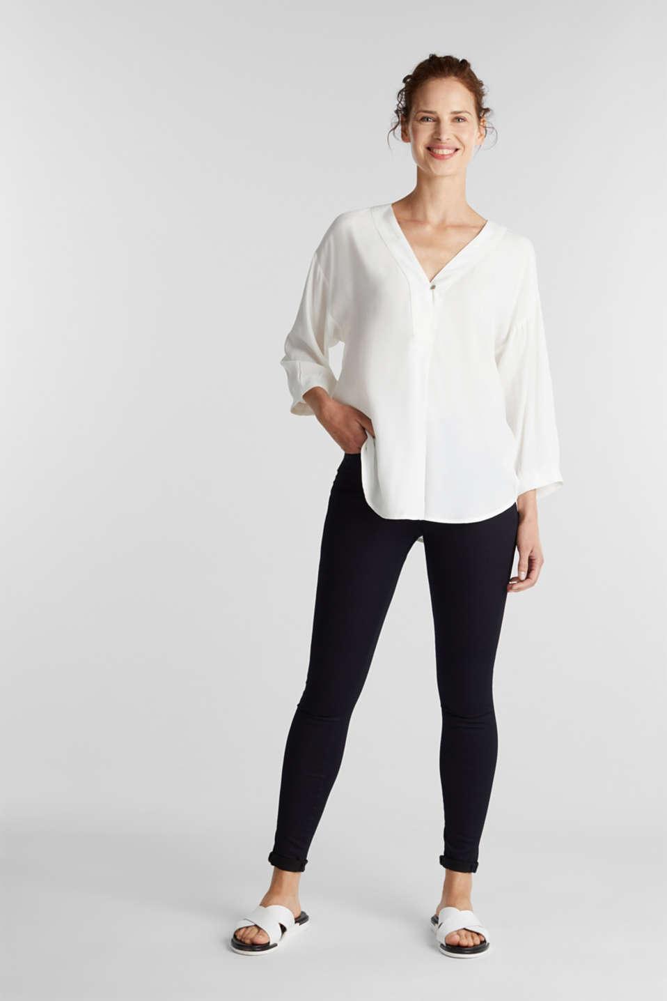 V-neck blouse made of LENZING™ ECOVERO™, OFF WHITE, detail image number 1