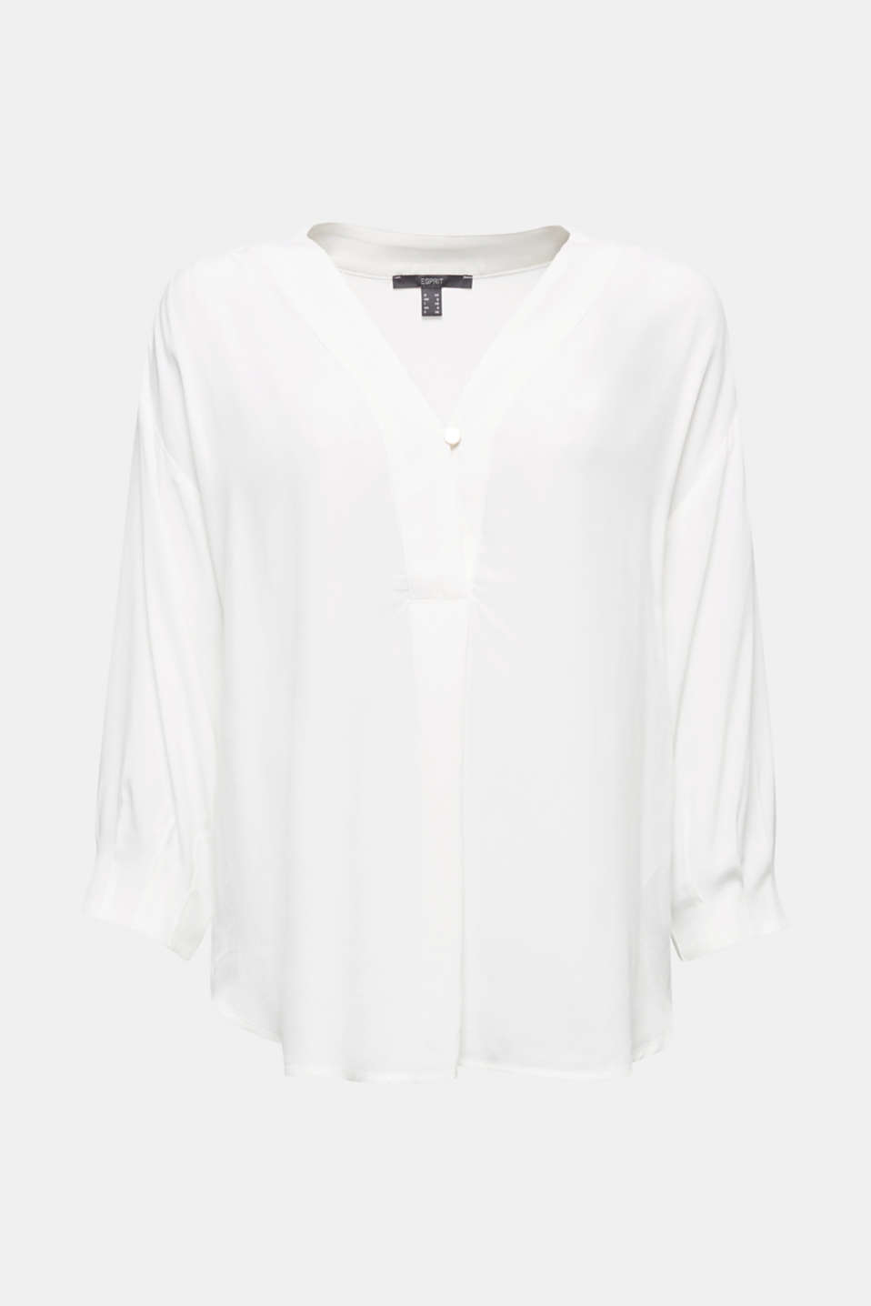 V-neck blouse made of LENZING™ ECOVERO™, OFF WHITE, detail image number 6