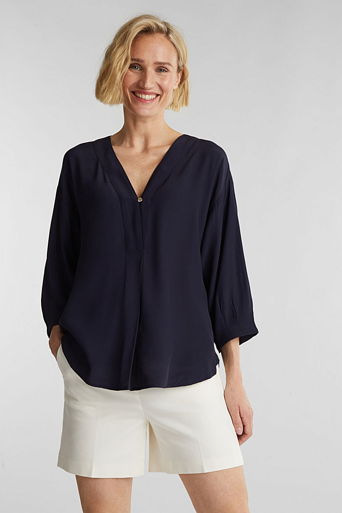 V-neck blouse made of LENZING™ ECOVERO™, NAVY, detail image number 0