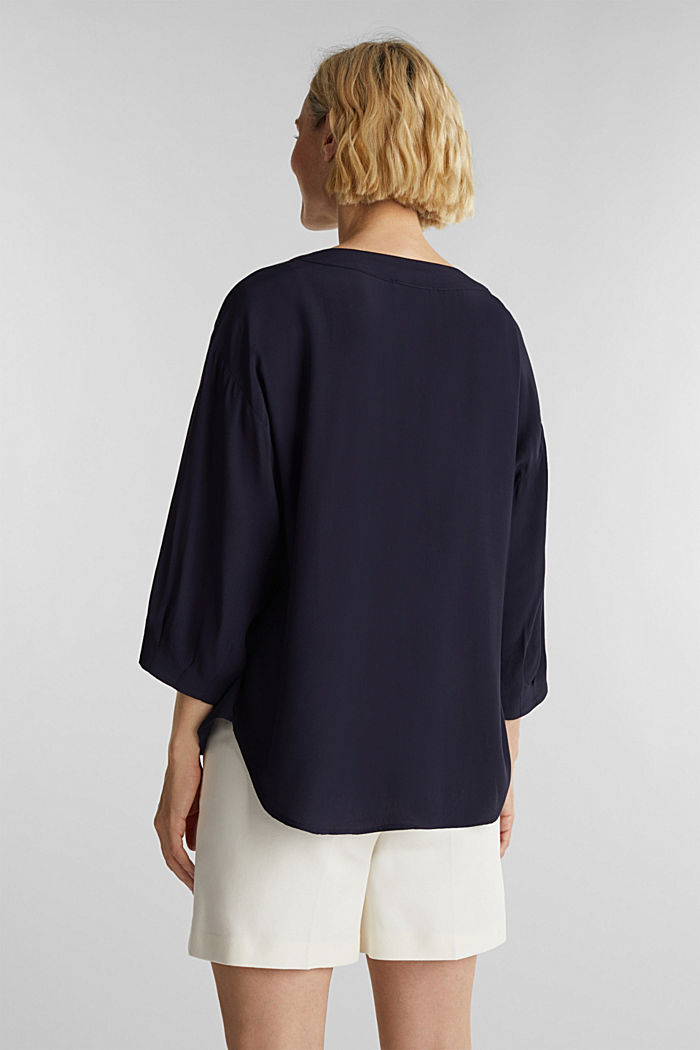V-neck blouse made of LENZING™ ECOVERO™, NAVY, detail image number 3