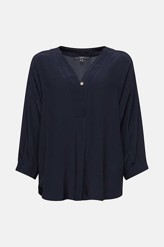 V-neck blouse made of LENZING™ ECOVERO™, NAVY, detail image number 6