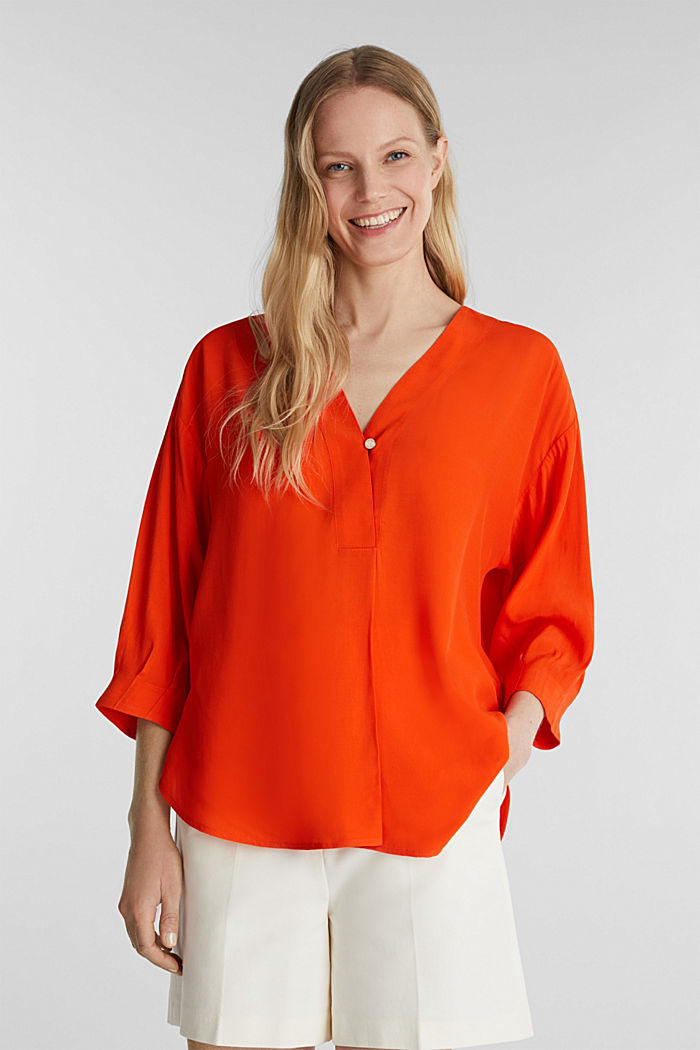 V-neck blouse made of LENZING™ ECOVERO™, RED ORANGE, overview
