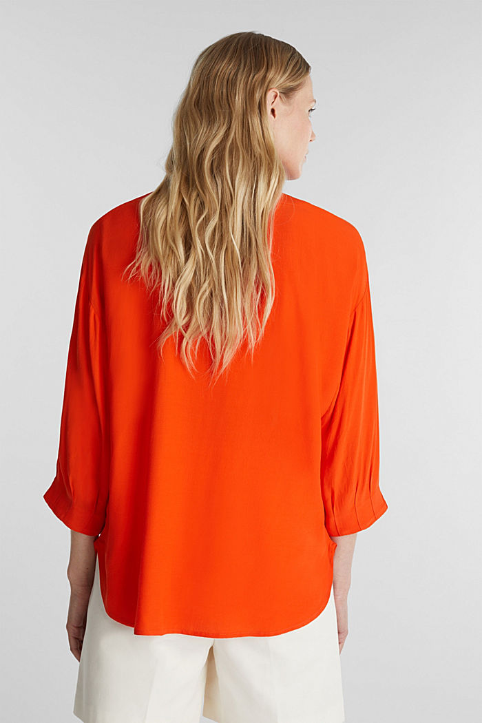 V-neck blouse made of LENZING™ ECOVERO™, RED ORANGE, detail image number 3