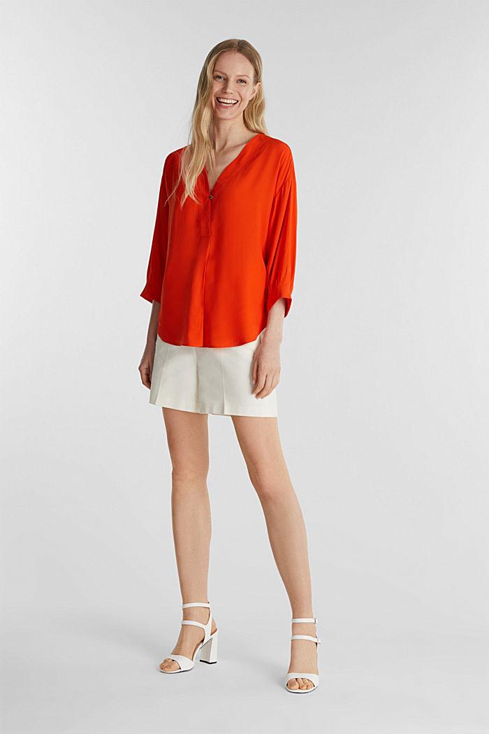 V-neck blouse made of LENZING™ ECOVERO™, RED ORANGE, detail image number 1