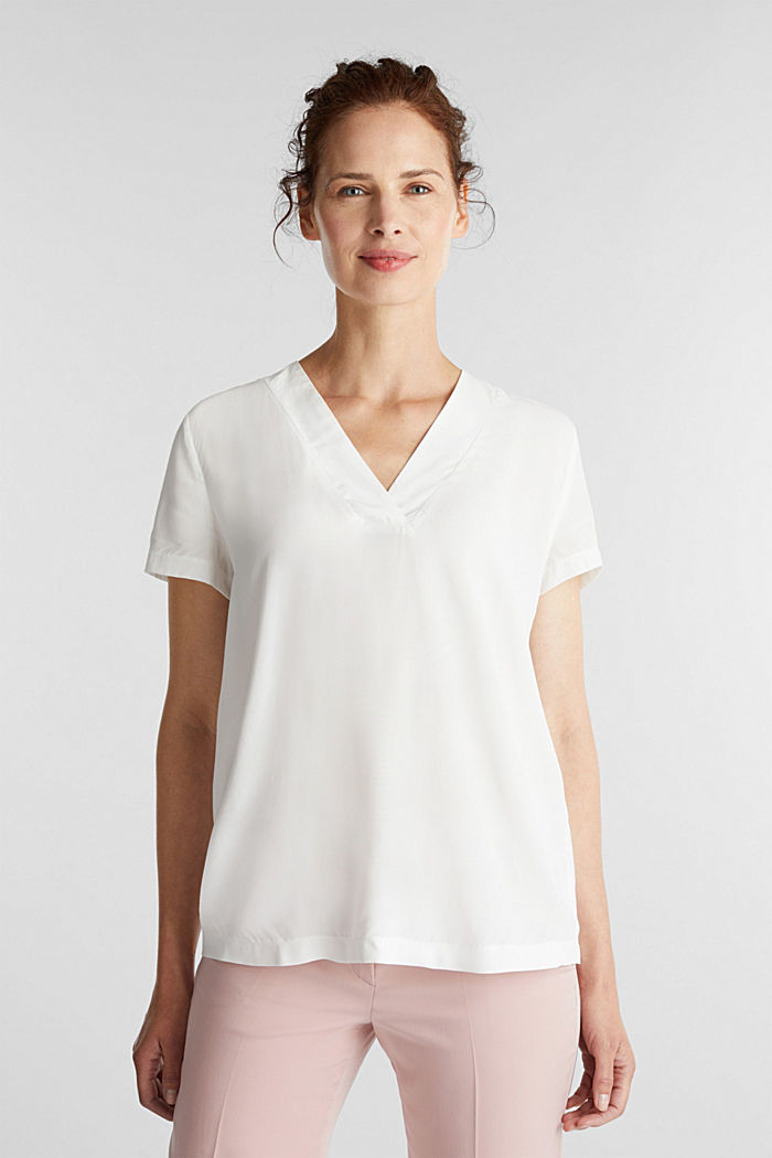 Blouse top with a V-neckline, OFF WHITE, detail image number 0
