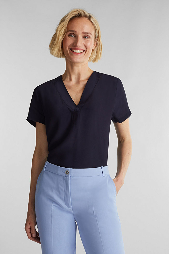 Blouse top with a V-neckline, NAVY, detail image number 0