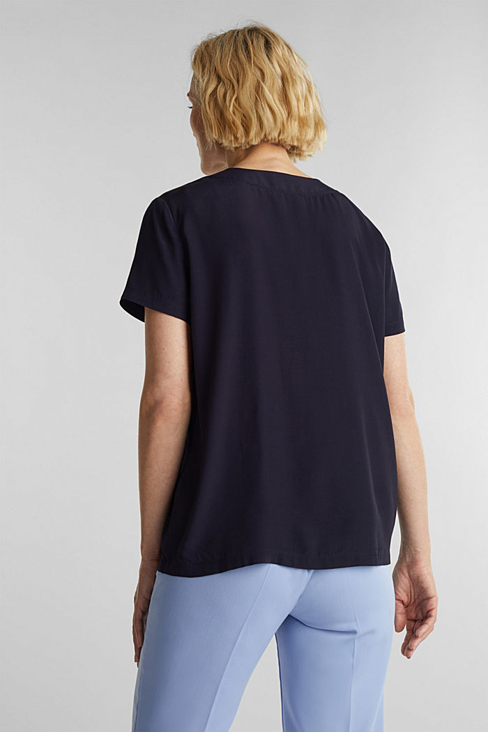 Blouse top with a V-neckline, NAVY, detail image number 3